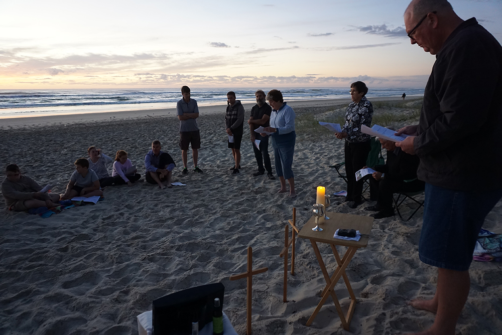 Surfers Anglican Church on the Gold Coast holding a special service on the beach in Surfers Paradise