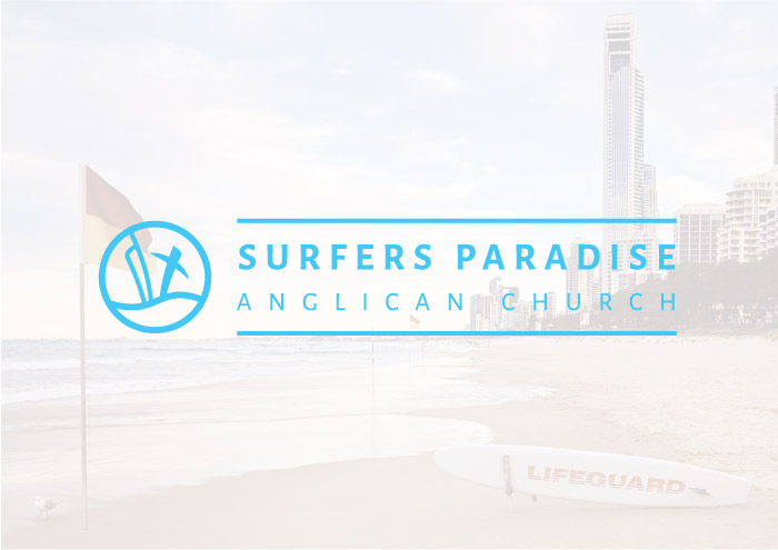 Surfers Paradise Anglican Church Logo in front of Surfers Paradise Beach